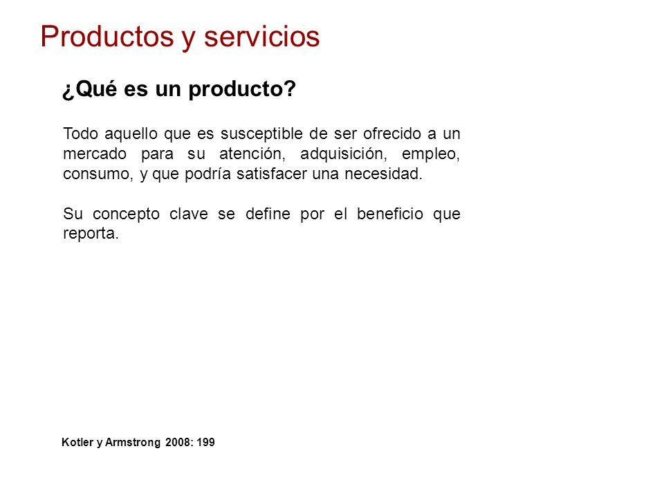 Productos y servicios ¿Qué es un producto? Todo aquello que es susceptible de ser ofrecido a un mercado para su atención, adquisición, empleo, consumo