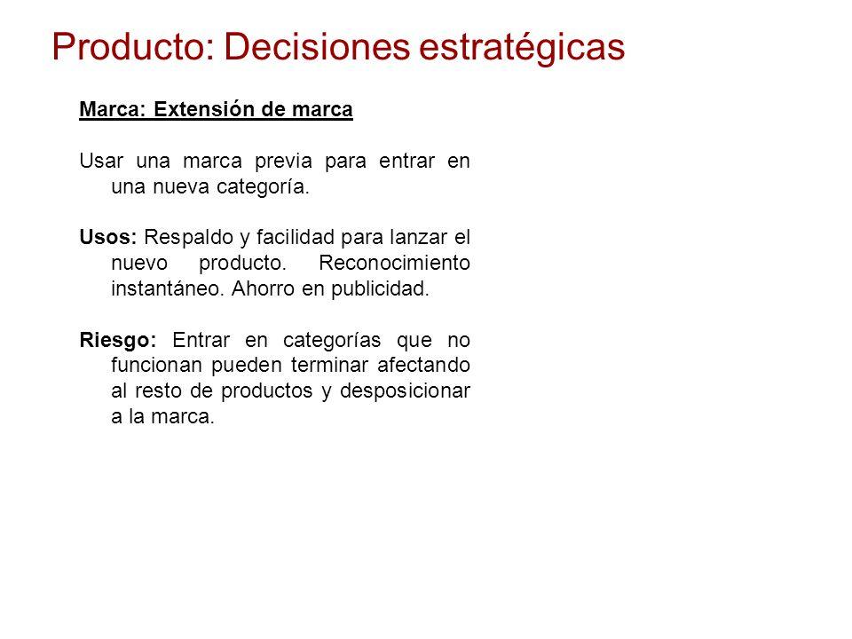 Producto: Decisiones estratégicas Marca: Extensión de marca Usar una marca previa para entrar en una nueva categoría. Usos: Respaldo y facilidad para
