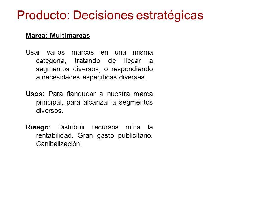 Producto: Decisiones estratégicas Marca: Multimarcas Usar varias marcas en una misma categoría, tratando de llegar a segmentos diversos, o respondiend
