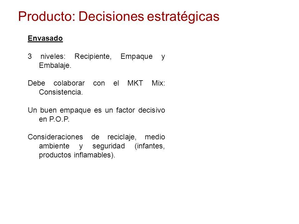 Producto: Decisiones estratégicas Envasado 3 niveles: Recipiente, Empaque y Embalaje. Debe colaborar con el MKT Mix: Consistencia. Un buen empaque es