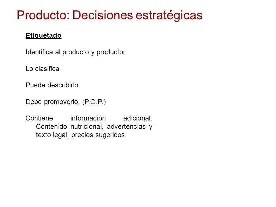 Producto: Decisiones estratégicas Etiquetado Identifica al producto y productor. Lo clasifica. Puede describirlo. Debe promoverlo. (P.O.P.) Contiene i