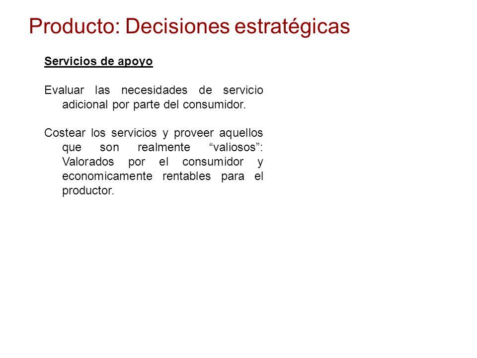 Producto: Decisiones estratégicas Servicios de apoyo Evaluar las necesidades de servicio adicional por parte del consumidor. Costear los servicios y p