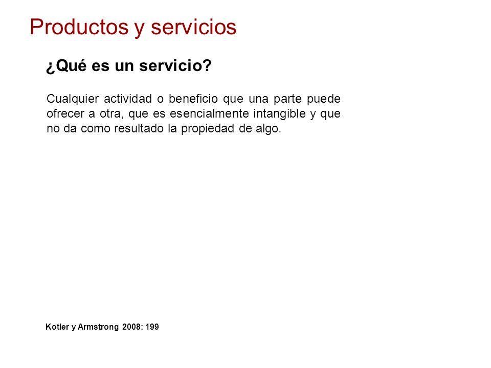 Productos y servicios ¿Qué es un servicio? Cualquier actividad o beneficio que una parte puede ofrecer a otra, que es esencialmente intangible y que n