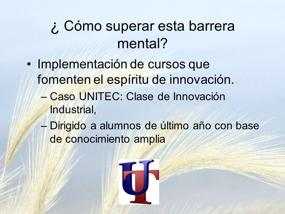 ¿ Cómo superar esta barrera mental? Implementación de cursos que fomenten el espíritu de innovación. –Caso UNITEC: Clase de Innovación Industrial, –Di
