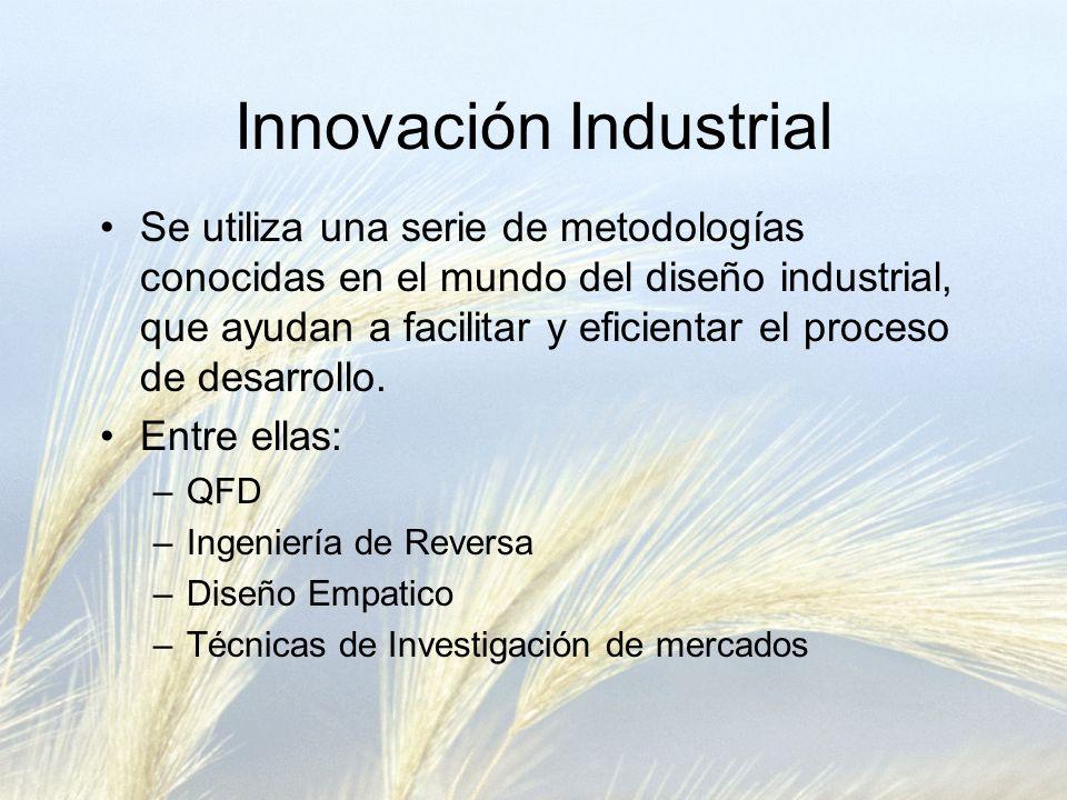 Innovación Industrial Se utiliza una serie de metodologías conocidas en el mundo del diseño industrial, que ayudan a facilitar y eficientar el proceso de desarrollo.