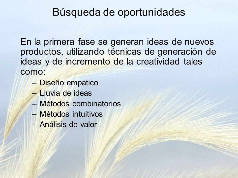 En la primera fase se generan ideas de nuevos productos, utilizando técnicas de generación de ideas y de incremento de la creatividad tales como: –Dis