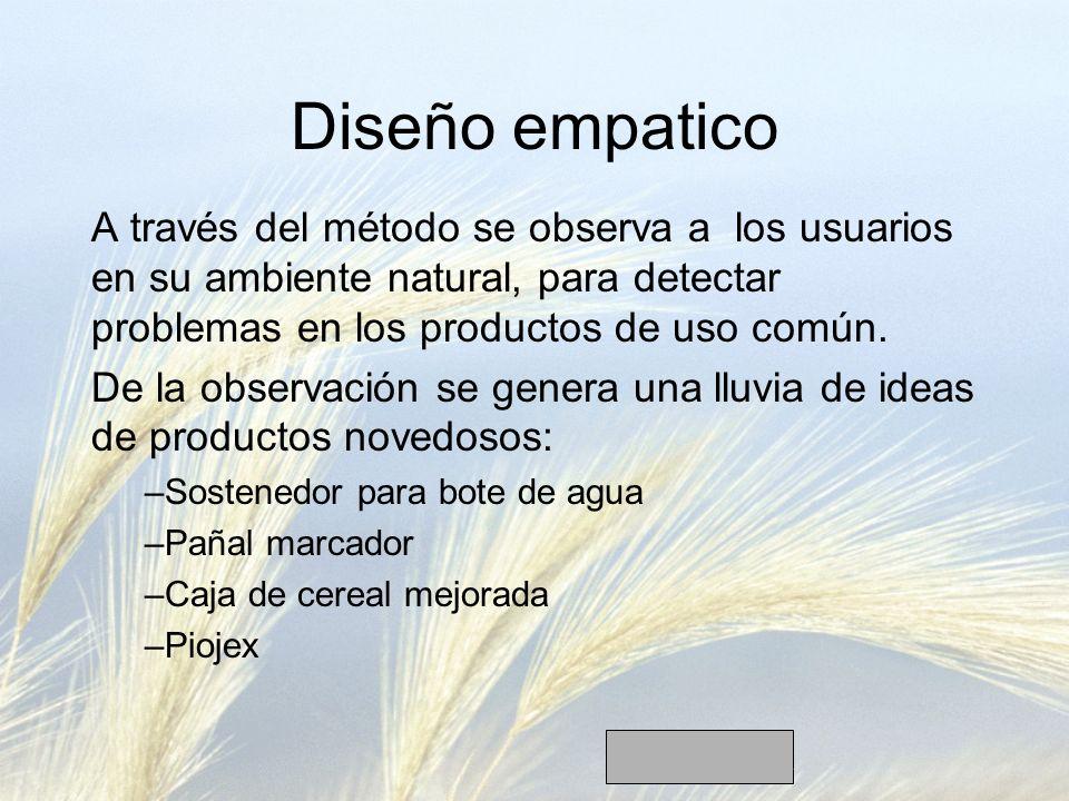 Diseño empatico A través del método se observa a los usuarios en su ambiente natural, para detectar problemas en los productos de uso común. De la obs