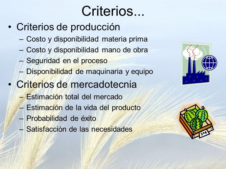 Criterios de producción –Costo y disponibilidad materia prima –Costo y disponibilidad mano de obra –Seguridad en el proceso –Disponibilidad de maquina
