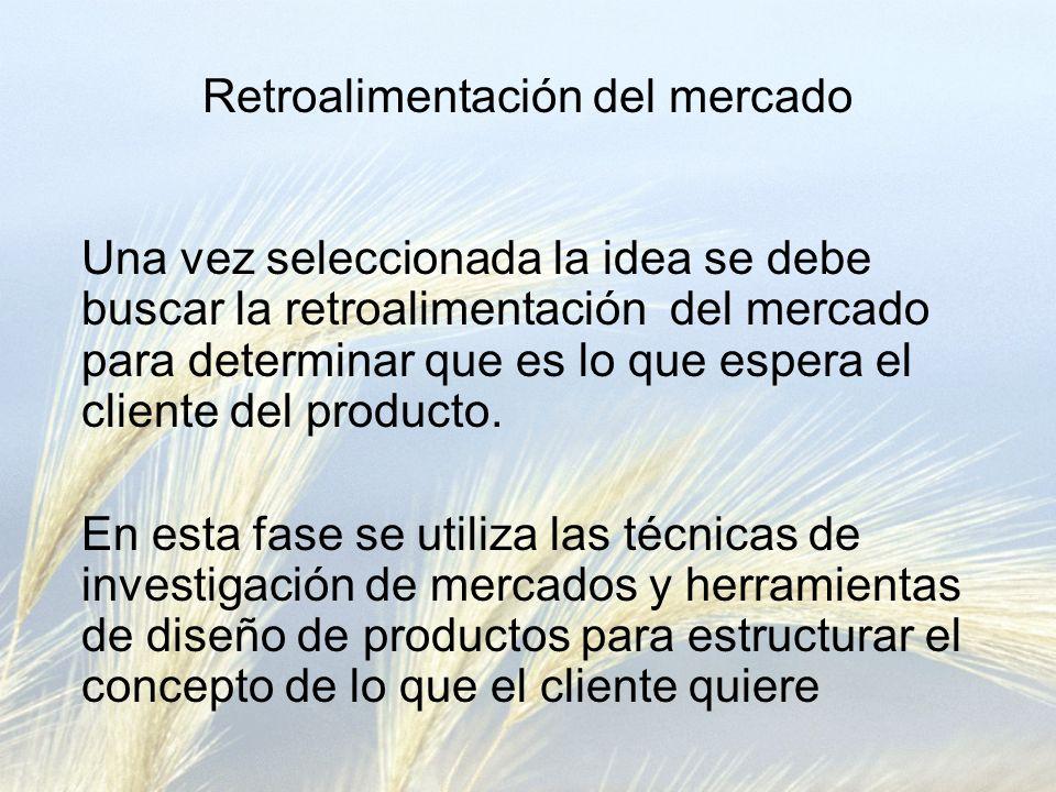 Retroalimentación del mercado Una vez seleccionada la idea se debe buscar la retroalimentación del mercado para determinar que es lo que espera el cliente del producto.