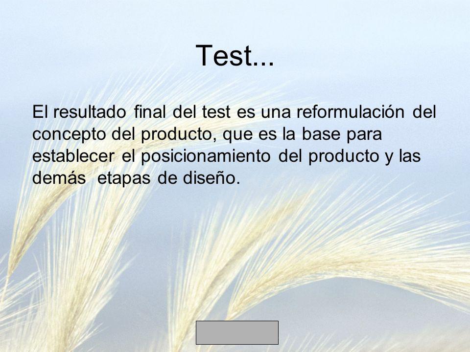 Test... El resultado final del test es una reformulación del concepto del producto, que es la base para establecer el posicionamiento del producto y l