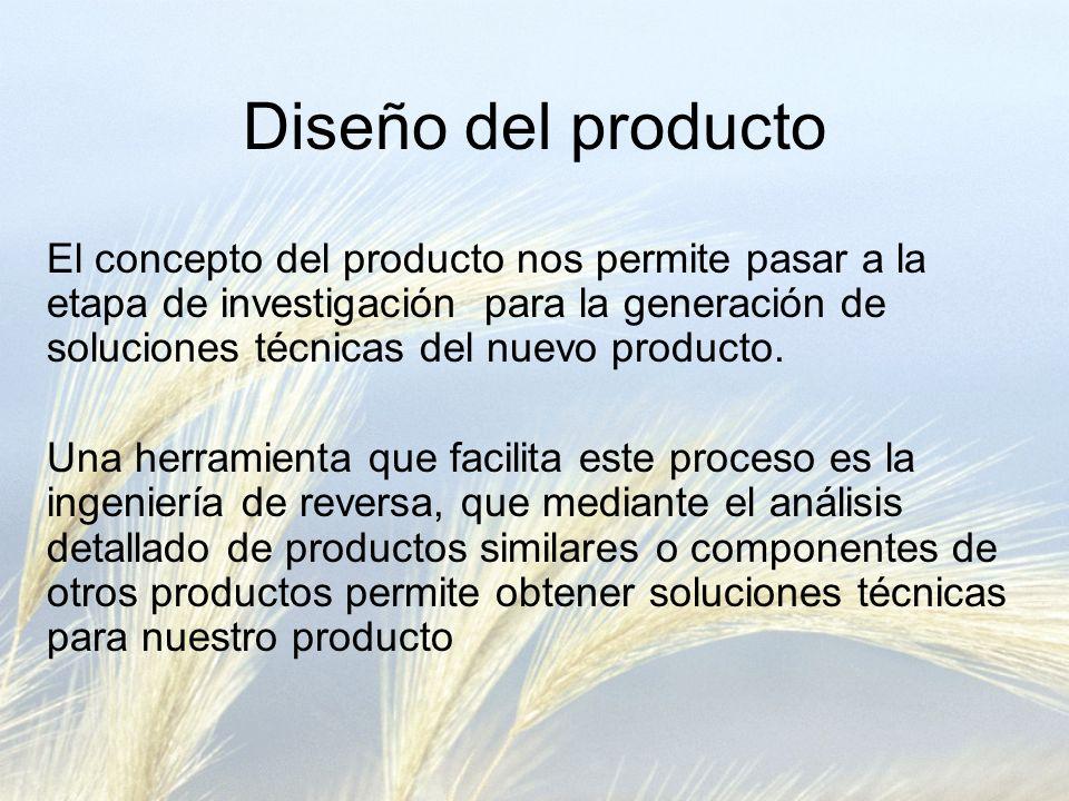 Diseño del producto El concepto del producto nos permite pasar a la etapa de investigación para la generación de soluciones técnicas del nuevo producto.