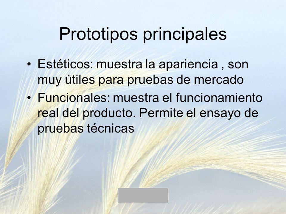 Prototipos principales Estéticos: muestra la apariencia, son muy útiles para pruebas de mercado Funcionales: muestra el funcionamiento real del producto.