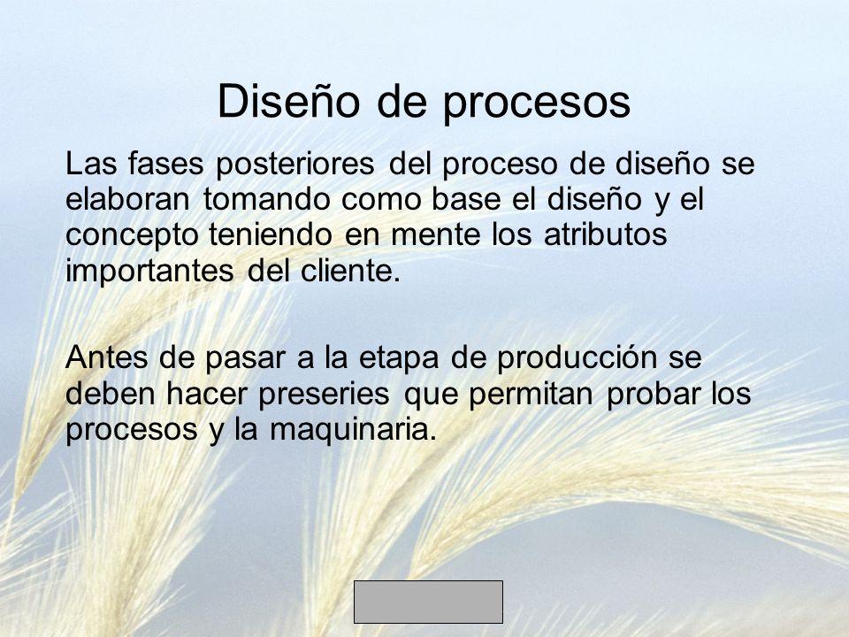 Las fases posteriores del proceso de diseño se elaboran tomando como base el diseño y el concepto teniendo en mente los atributos importantes del clie
