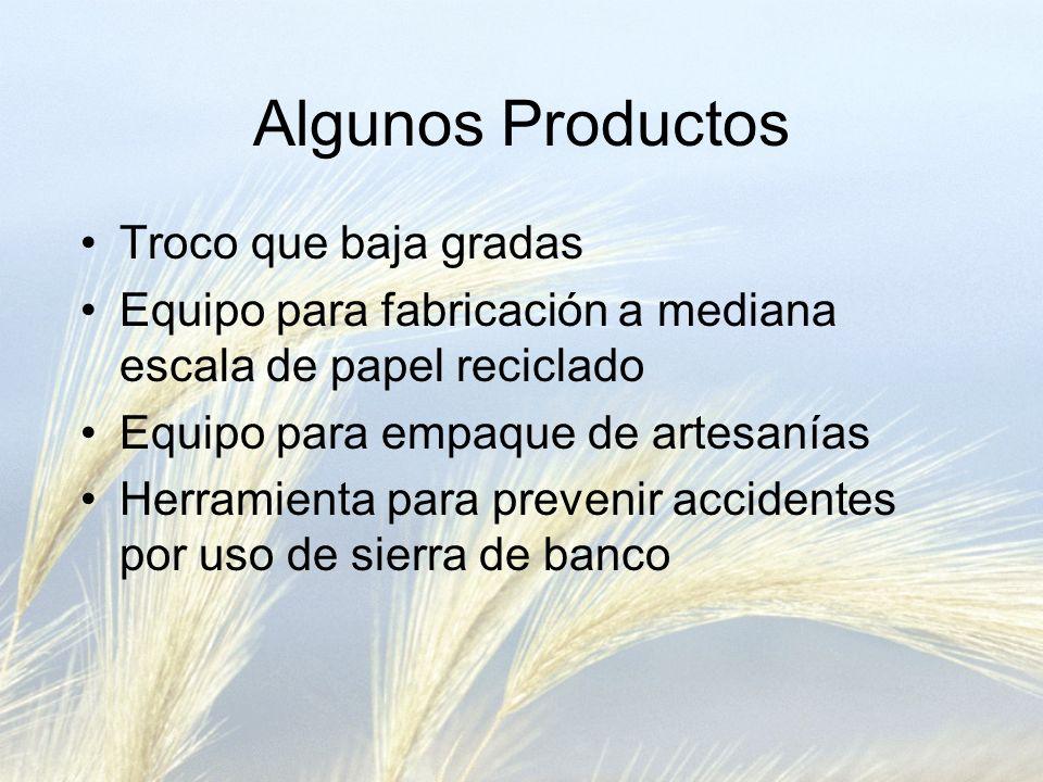 Algunos Productos Troco que baja gradas Equipo para fabricación a mediana escala de papel reciclado Equipo para empaque de artesanías Herramienta para prevenir accidentes por uso de sierra de banco