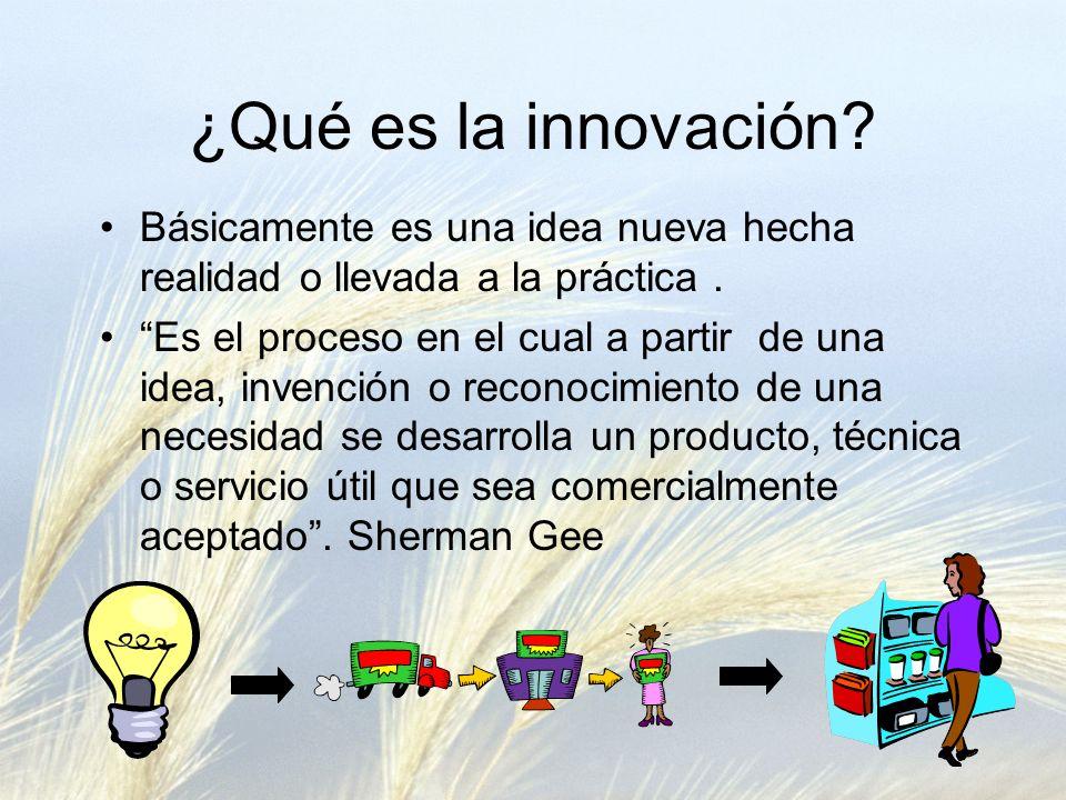 ¿Qué es la innovación? Básicamente es una idea nueva hecha realidad o llevada a la práctica. Es el proceso en el cual a partir de una idea, invención