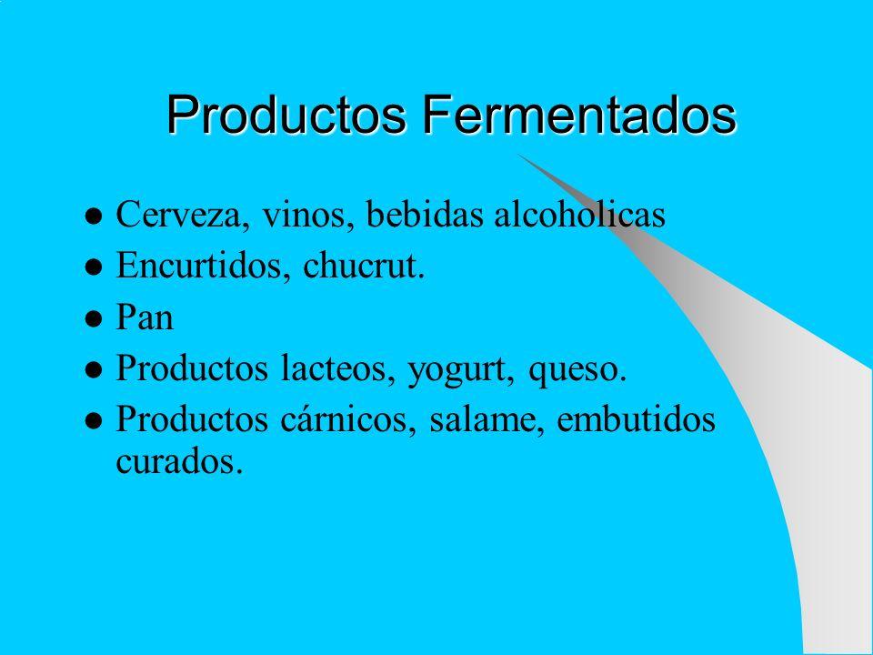 Productos Fermentados Cerveza, vinos, bebidas alcoholicas Encurtidos, chucrut. Pan Productos lacteos, yogurt, queso. Productos cárnicos, salame, embut