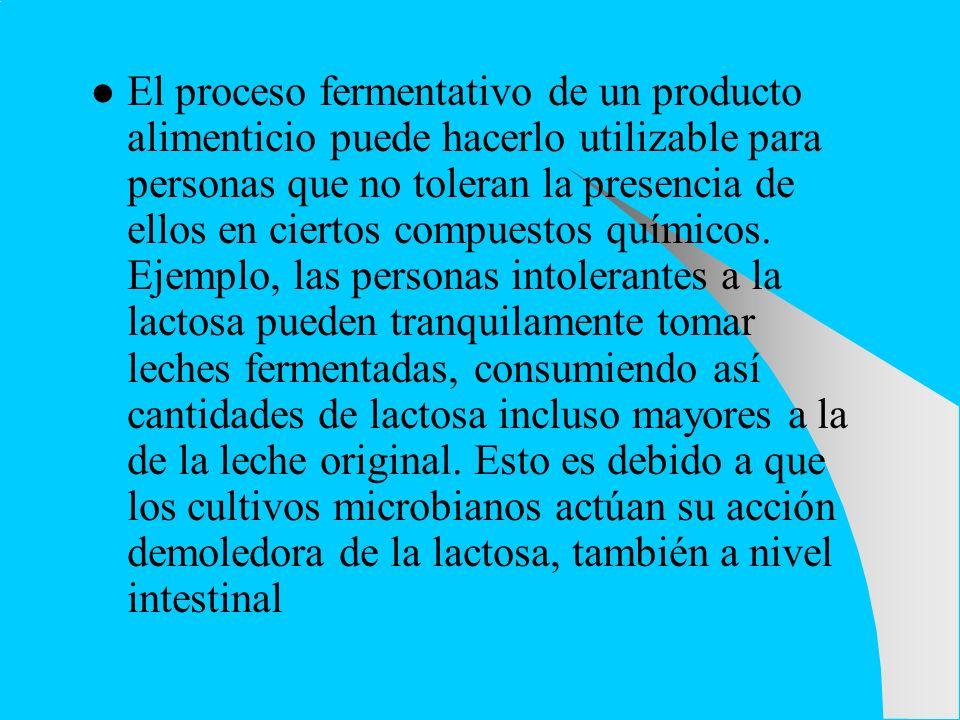 El proceso fermentativo de un producto alimenticio puede hacerlo utilizable para personas que no toleran la presencia de ellos en ciertos compuestos q