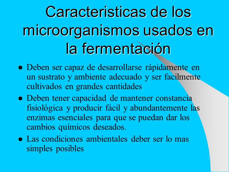 Caracteristicas de los microorganismos usados en la fermentación Deben ser capaz de desarrollarse rápidamente en un sustrato y ambiente adecuado y ser