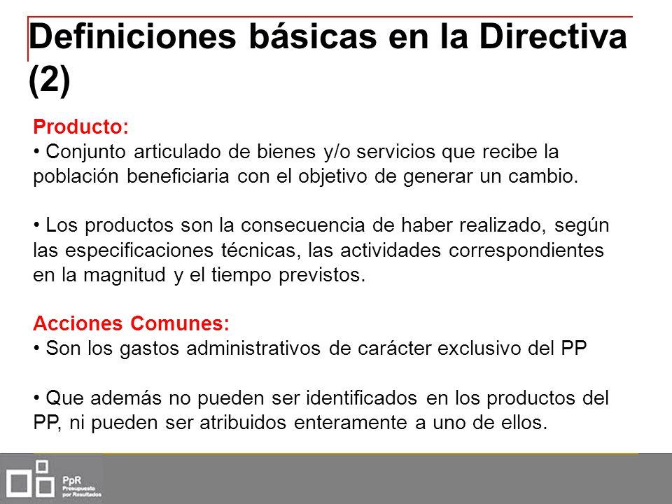 Definiciones básicas en la Directiva (2) Producto: Conjunto articulado de bienes y/o servicios que recibe la población beneficiaria con el objetivo de