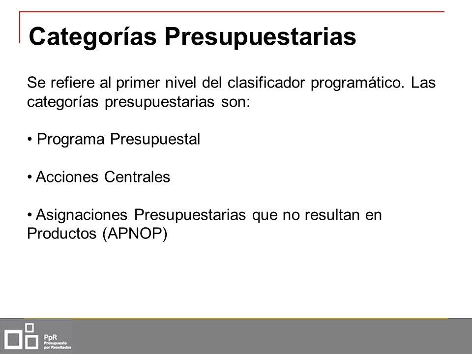Categorías Presupuestarias Se refiere al primer nivel del clasificador programático. Las categorías presupuestarias son: Programa Presupuestal Accione