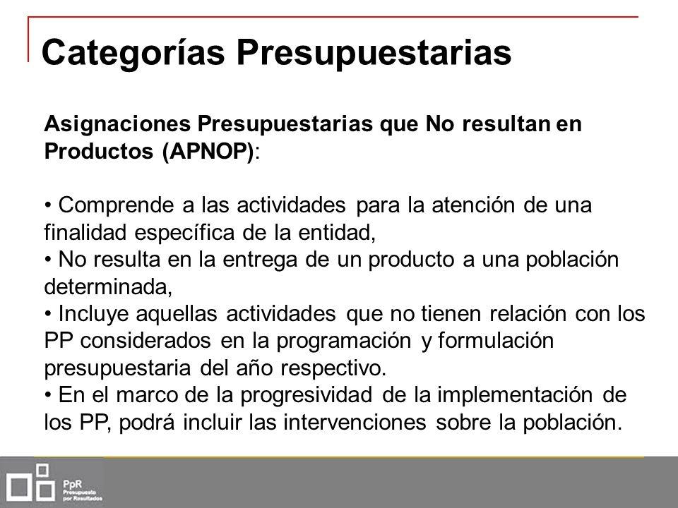 Asignaciones Presupuestarias que No resultan en Productos (APNOP): Comprende a las actividades para la atención de una finalidad específica de la enti