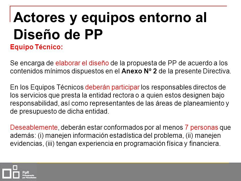 Actores y equipos entorno al Diseño de PP Equipo Técnico: Se encarga de elaborar el diseño de la propuesta de PP de acuerdo a los contenidos mínimos d