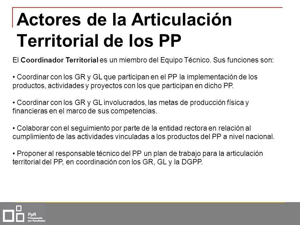 Actores de la Articulación Territorial de los PP El Coordinador Territorial es un miembro del Equipo Técnico. Sus funciones son: Coordinar con los GR