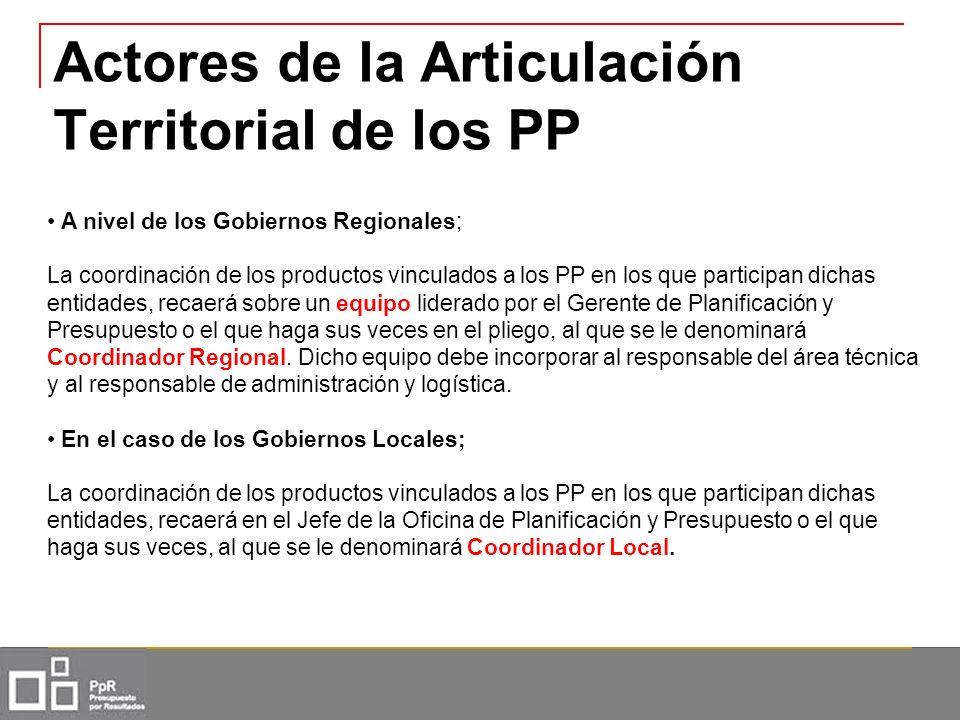 Actores de la Articulación Territorial de los PP A nivel de los Gobiernos Regionales; La coordinación de los productos vinculados a los PP en los que