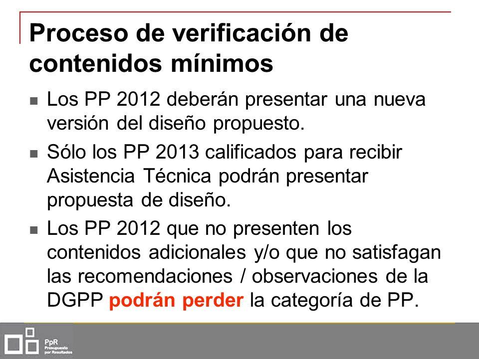 Proceso de verificación de contenidos mínimos Los PP 2012 deberán presentar una nueva versión del diseño propuesto. Sólo los PP 2013 calificados para