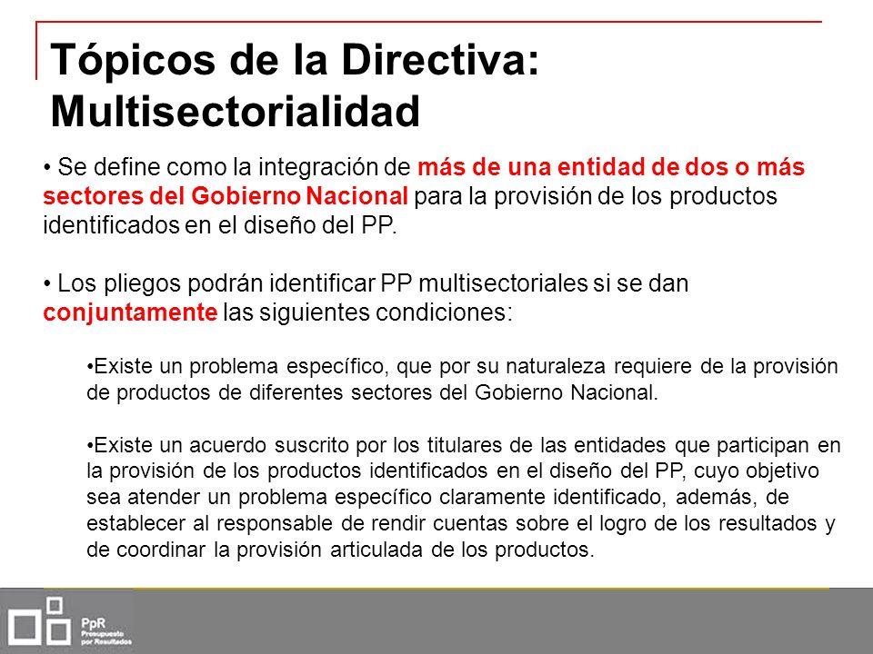 Tópicos de la Directiva: Multisectorialidad Se define como la integración de más de una entidad de dos o más sectores del Gobierno Nacional para la pr