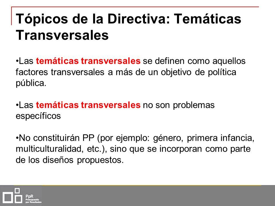 Tópicos de la Directiva: Temáticas Transversales Las temáticas transversales se definen como aquellos factores transversales a más de un objetivo de p