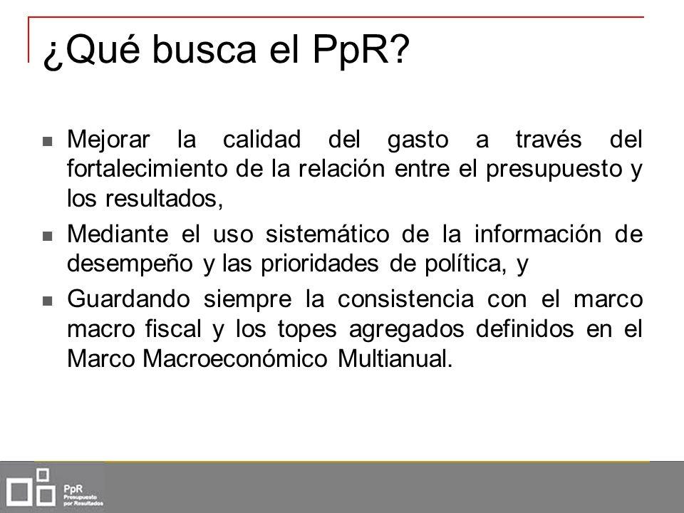 ¿Qué busca el PpR? Mejorar la calidad del gasto a través del fortalecimiento de la relación entre el presupuesto y los resultados, Mediante el uso sis