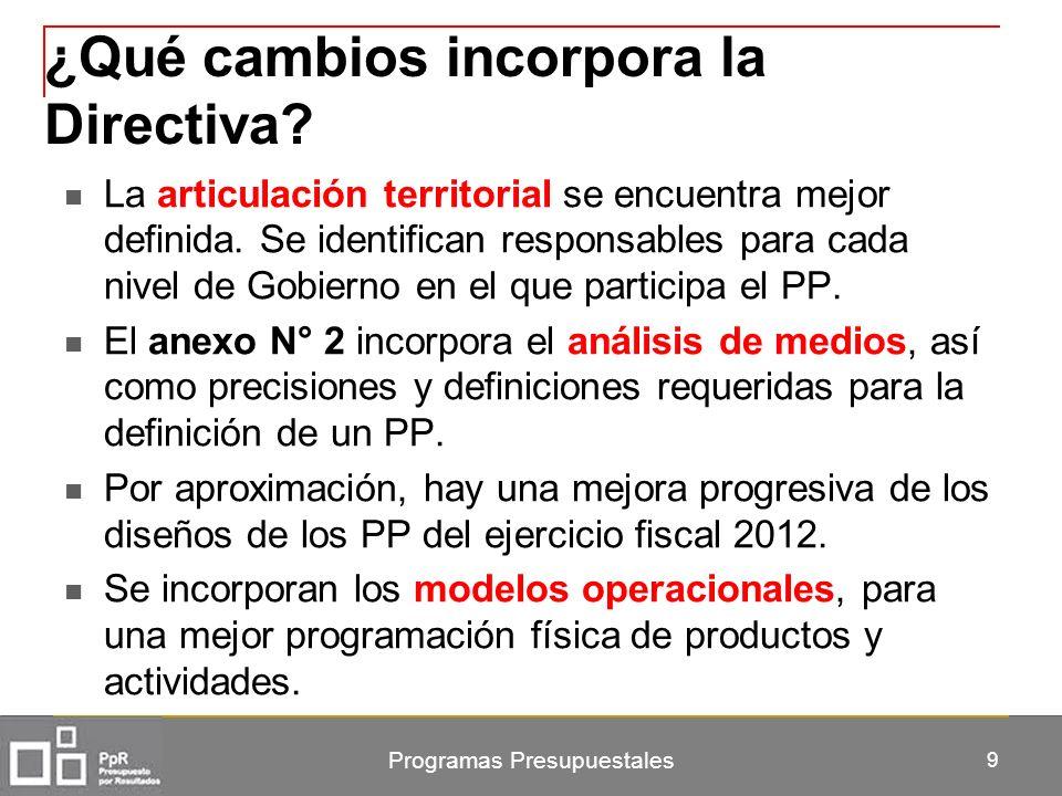 Programas Presupuestales 9 ¿Qué cambios incorpora la Directiva? La articulación territorial se encuentra mejor definida. Se identifican responsables p