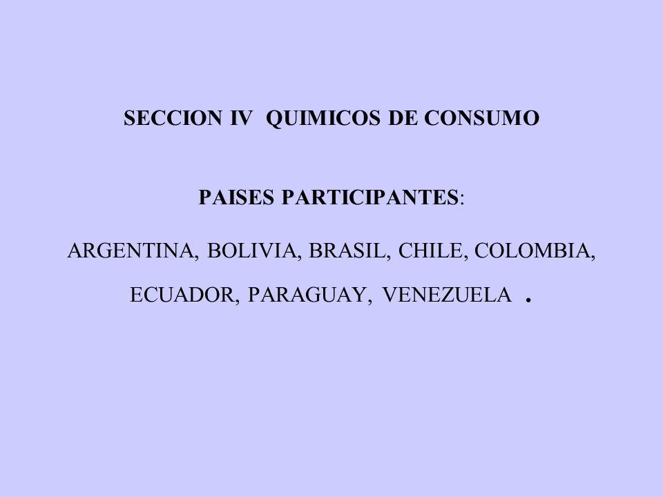 SECCION IV QUIMICOS DE CONSUMO PAISES PARTICIPANTES: ARGENTINA, BOLIVIA, BRASIL, CHILE, COLOMBIA, ECUADOR, PARAGUAY, VENEZUELA.