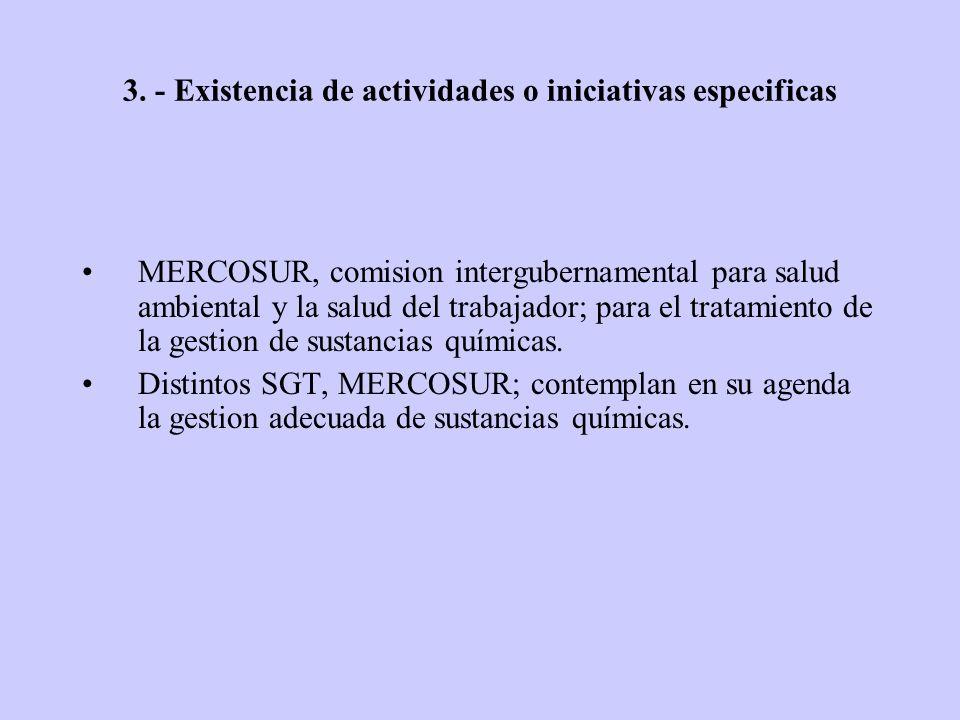 3. - Existencia de actividades o iniciativas especificas MERCOSUR, comision intergubernamental para salud ambiental y la salud del trabajador; para el
