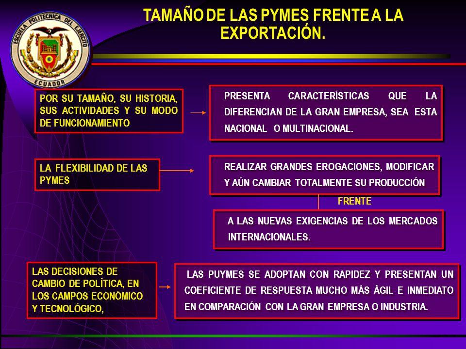 TAMAÑO DE LAS PYMES FRENTE A LA EXPORTACIÓN. PRESENTA CARACTERÍSTICAS QUE LA DIFERENCIAN DE LA GRAN EMPRESA, SEA ESTA NACIONAL O MULTINACIONAL. A LAS