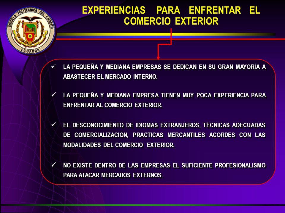 EXPERIENCIAS PARA ENFRENTAR EL COMERCIO EXTERIOR NO EXISTE DENTRO DE LAS EMPRESAS EL SUFICIENTE PROFESIONALISMO PARA ATACAR MERCADOS EXTERNOS.