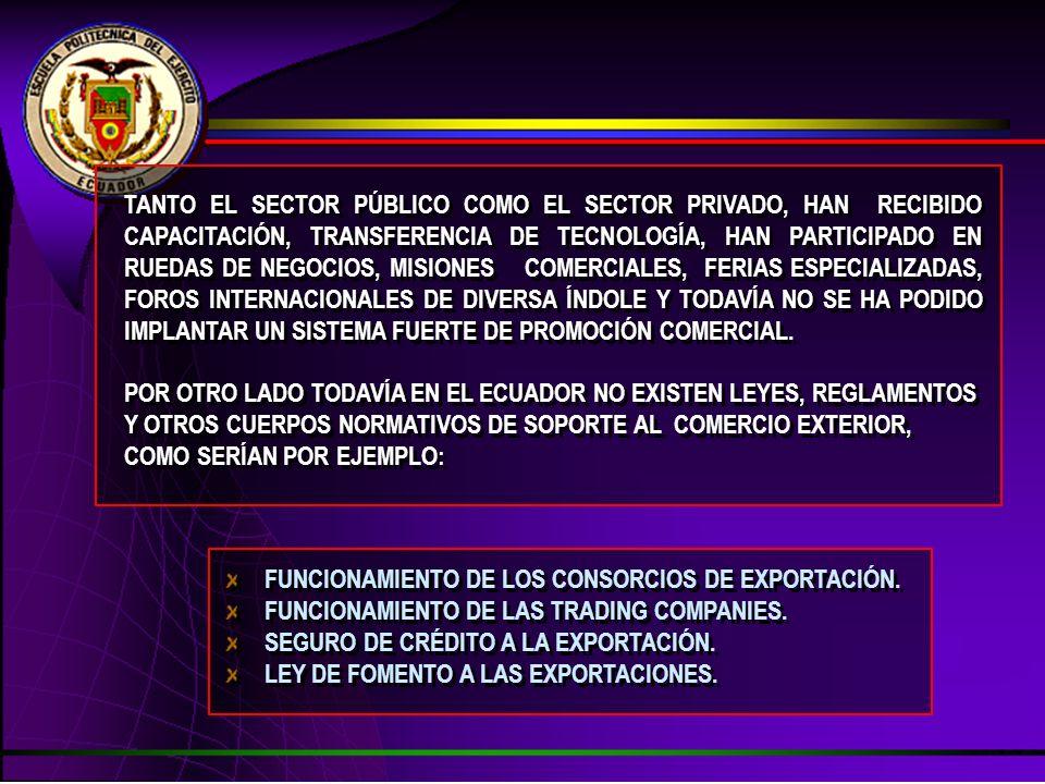TANTO EL SECTOR PÚBLICO COMO EL SECTOR PRIVADO, HAN RECIBIDO CAPACITACIÓN, TRANSFERENCIA DE TECNOLOGÍA, HAN PARTICIPADO EN RUEDAS DE NEGOCIOS, MISIONE