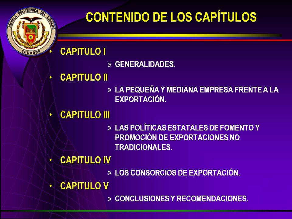 CAPITULO I CAPITULO I » GENERALIDADES. CAPITULO II CAPITULO II » LA PEQUEÑA Y MEDIANA EMPRESA FRENTE A LA EXPORTACIÓN. CAPITULO III CAPITULO III » LAS