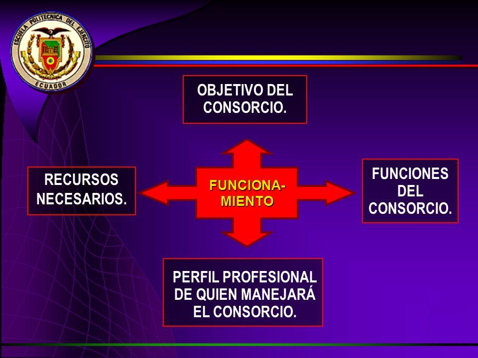 FUNCIONA-MIENTO RECURSOS NECESARIOS. PERFIL PROFESIONAL DE QUIEN MANEJARÁ EL CONSORCIO. FUNCIONES DEL CONSORCIO. OBJETIVO DEL CONSORCIO.