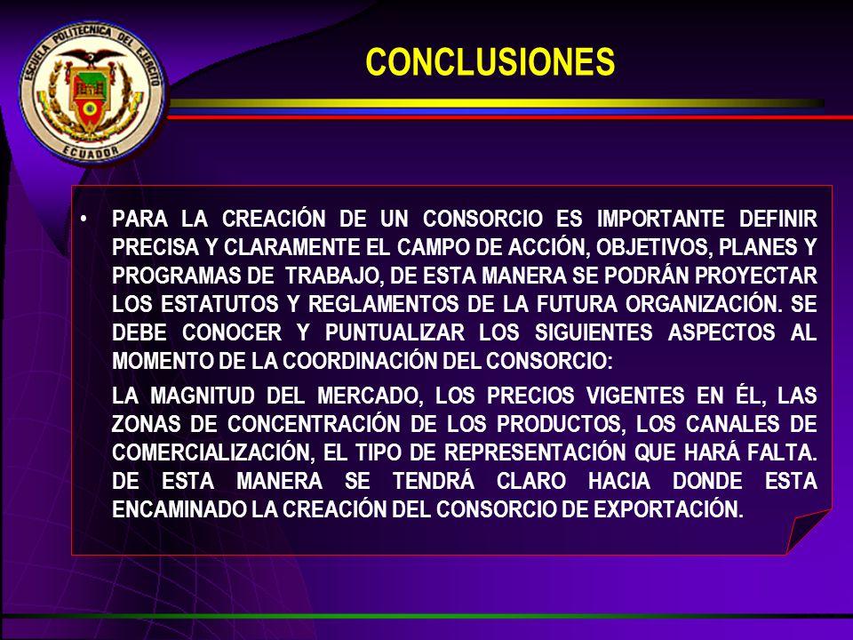 CONCLUSIONES PARA LA CREACIÓN DE UN CONSORCIO ES IMPORTANTE DEFINIR PRECISA Y CLARAMENTE EL CAMPO DE ACCIÓN, OBJETIVOS, PLANES Y PROGRAMAS DE TRABAJO, DE ESTA MANERA SE PODRÁN PROYECTAR LOS ESTATUTOS Y REGLAMENTOS DE LA FUTURA ORGANIZACIÓN.