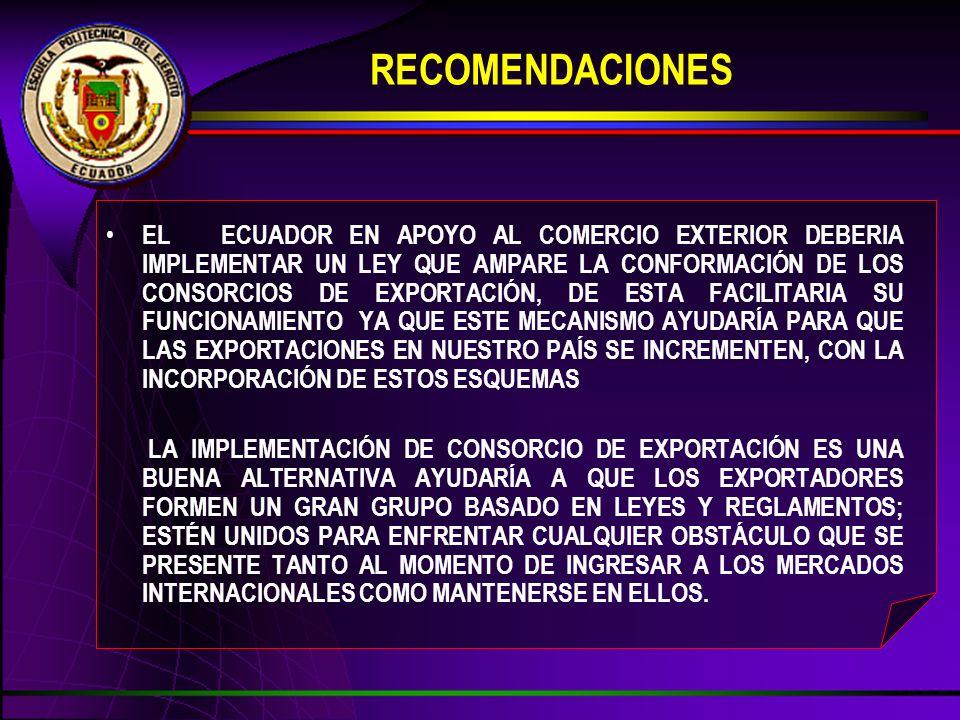 RECOMENDACIONES EL ECUADOR EN APOYO AL COMERCIO EXTERIOR DEBERIA IMPLEMENTAR UN LEY QUE AMPARE LA CONFORMACIÓN DE LOS CONSORCIOS DE EXPORTACIÓN, DE ES