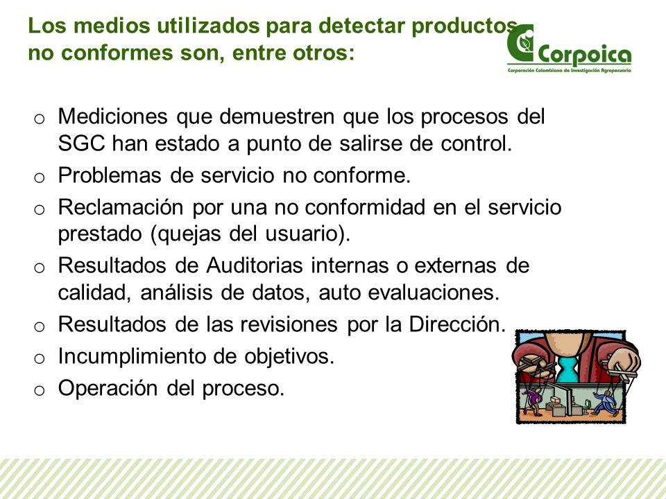 Los medios utilizados para detectar productos no conformes son, entre otros: o Mediciones que demuestren que los procesos del SGC han estado a punto d