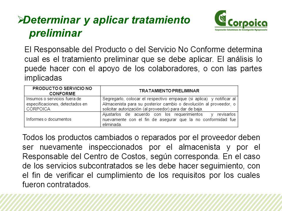 Determinar y aplicar tratamiento preliminar El Responsable del Producto o del Servicio No Conforme determina cual es el tratamiento preliminar que se