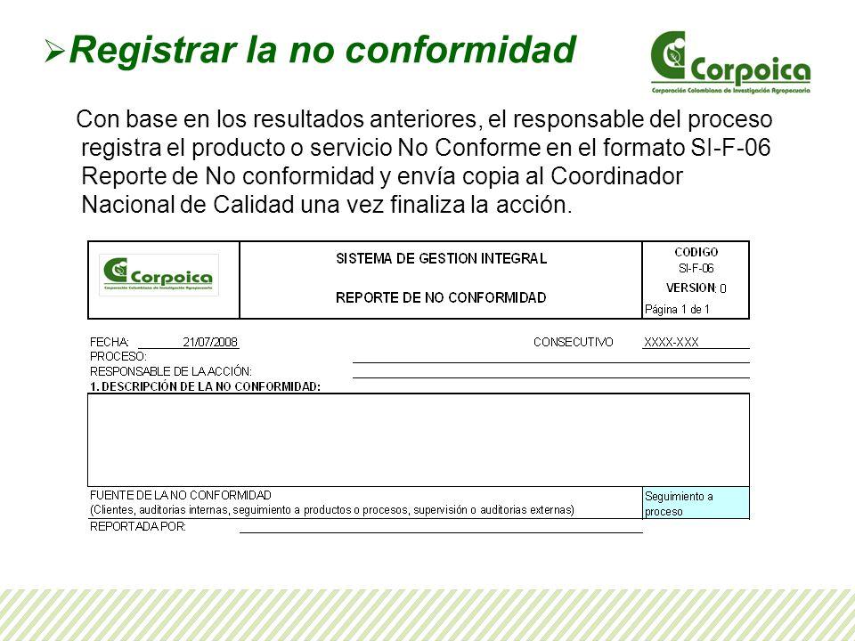 Registrar la no conformidad Con base en los resultados anteriores, el responsable del proceso registra el producto o servicio No Conforme en el format
