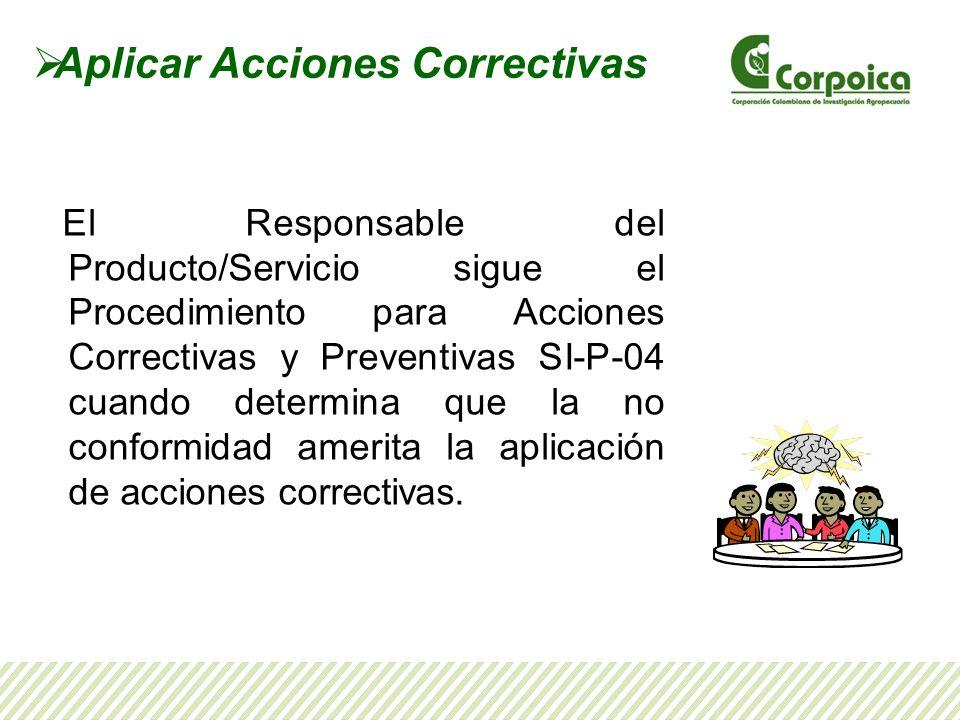 Aplicar Acciones Correctivas El Responsable del Producto/Servicio sigue el Procedimiento para Acciones Correctivas y Preventivas SI-P-04 cuando determ