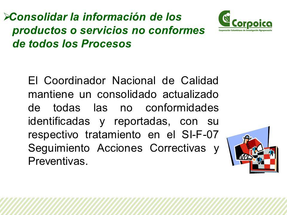 Consolidar la información de los productos o servicios no conformes de todos los Procesos El Coordinador Nacional de Calidad mantiene un consolidado a