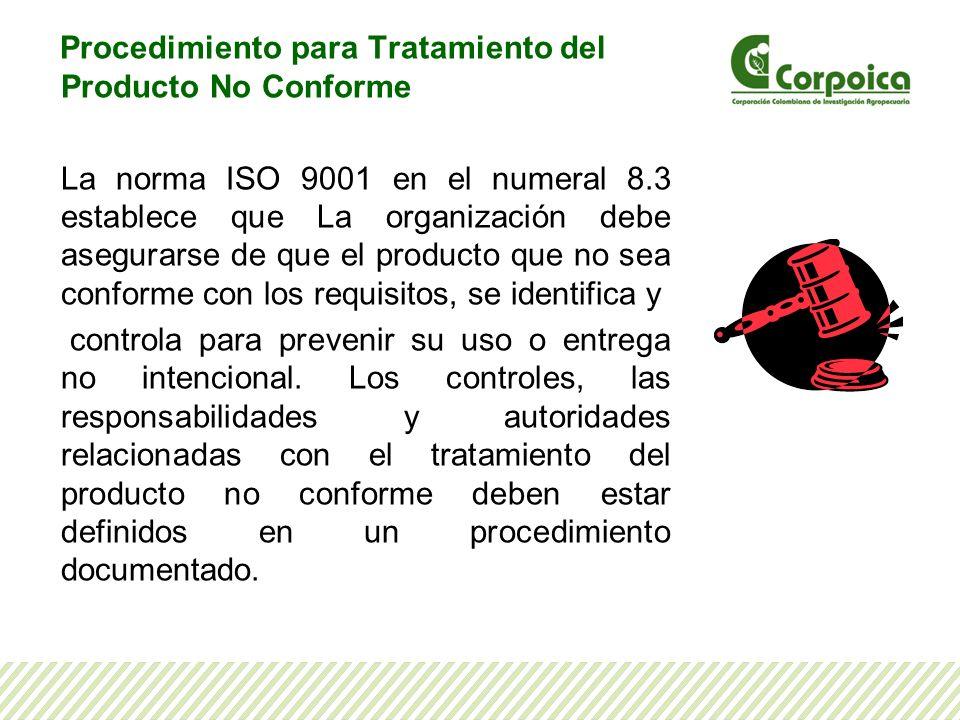 Dando cumplimiento a este requisito, la Corporación cuenta con el Procedimiento para Tratamiento del Producto No Conforme, identificado con el código SI-P-05, que pueden consultar en Corponet, en la ruta: Corponet/ ISO/certificación misional/Mapa de procesos/Sistema de gestión Integral/SI-P-05 Procedimiento para Tratamiento del Producto No Conforme.