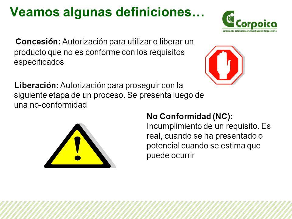 Concesión: Autorización para utilizar o liberar un producto que no es conforme con los requisitos especificados Liberación: Autorización para prosegui