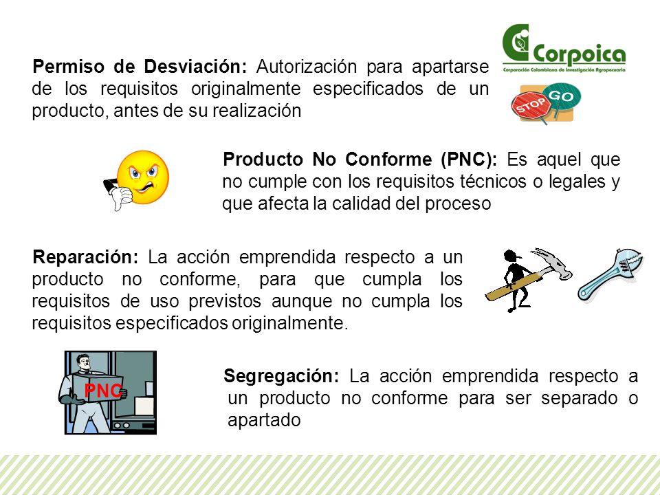 Permiso de Desviación: Autorización para apartarse de los requisitos originalmente especificados de un producto, antes de su realización Producto No C